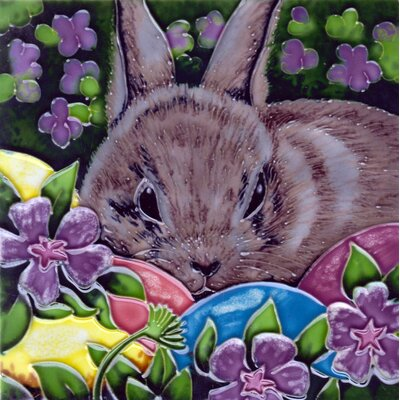 8 x 8 Ceramic Bunny and Flowers Decorative Mural Tile