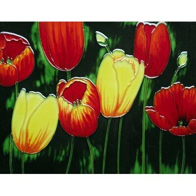11 x 14 Ceramic Tulips (Horizontal) Decorative Mural Tile