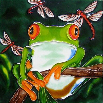 8 x 8 Ceramic Tree Frog and 3 Dragonflies Decorative Mural Tile in Green