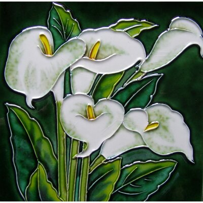 8 x 8 Ceramic White Callas Lily Decorative Mural Tile