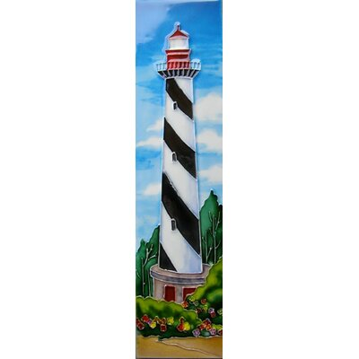 4 x 16 Ceramic Light House with Stripes Decorative Mural Tile