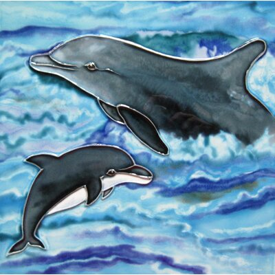 8 x 8 Ceramic Two Dolphins Decorative Mural Tile