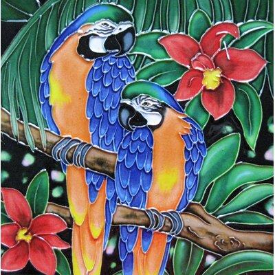 8 x 8 Ceramic Two Parrots Decorative Mural Tile