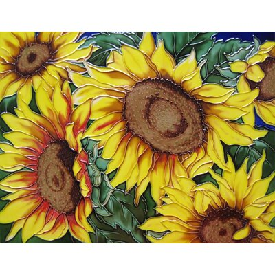 11 x 14 Ceramic 6 Sunflowers Decorative Mural Tile