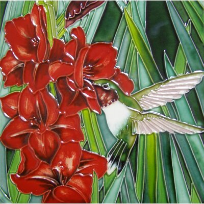 8 x 8 Ceramic Hummingbird and Flowers Decorative Mural Tile in Red/Green