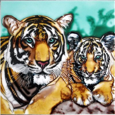 8 x 8 Ceramic Tiger Mom with Cub Decorative Mural Tile