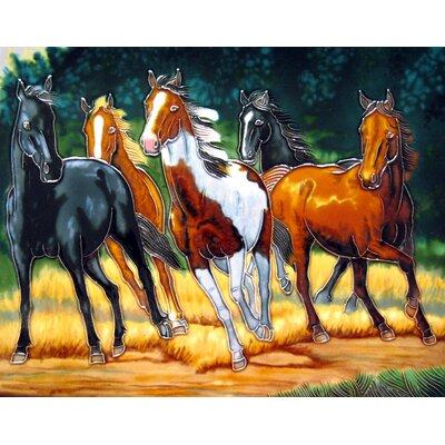 11 x 14 Ceramic 5 Horses Decorative Mural Tile