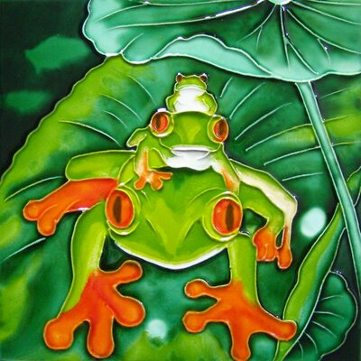 8 x 8 Ceramic a Stack of Frogs Decorative Mural Tile