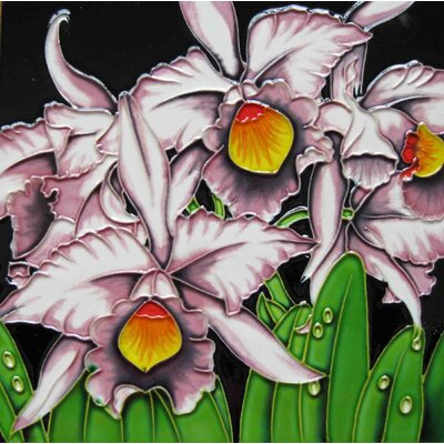 8 x 8 Ceramic Orchid with Background Decorative Mural Tile