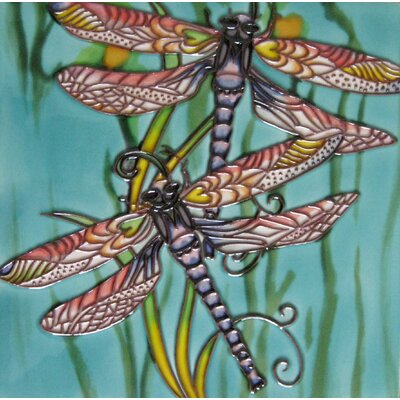 8 x 8 Ceramic Two Dragonflies Decorative Mural Tile