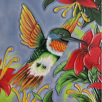 8 x 8 Ceramic Hummingbird with Wings Decorative Mural Tile