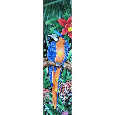 4 x 16 Ceramic Parrot Facing Left Decorative Mural Tile in Green/Blue