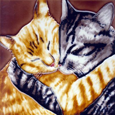 8 x 8 Ceramic 2 Hugging Cats Decorative Mural Tile