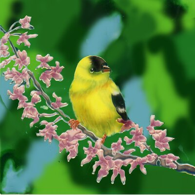 8 x 8 Ceramic Gold Finch on a Flowery Branch Decorative Mural Tile