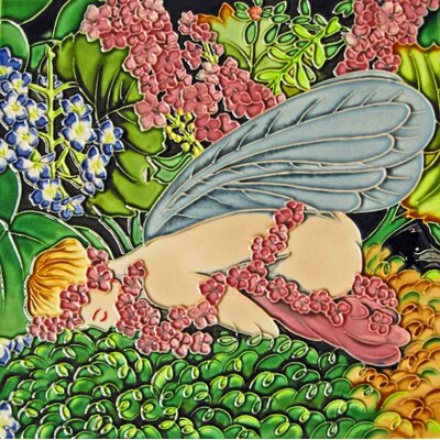 8 x 8 Ceramic Sleeping Fairy Decorative Mural Tile