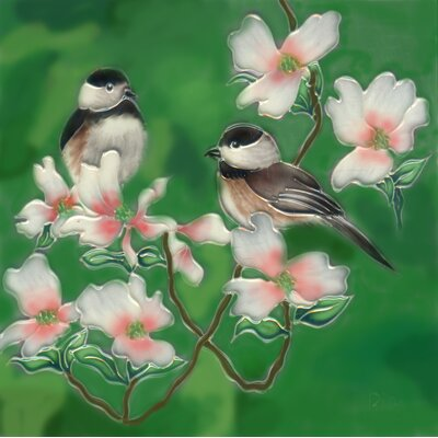 8 x 8 Ceramic Two Chickadee with Cherry Blossom Decorative Mural Tile