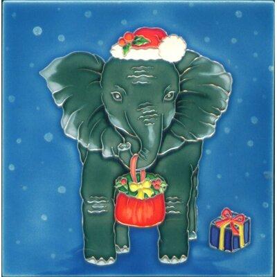 8 x 8 Ceramic Christmas Elephant Decorative Mural Tile