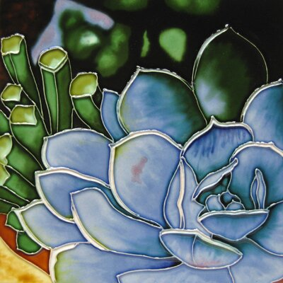 8 x 8 Ceramic Succulent Decorative Mural Tile
