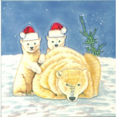 8 x 8 Ceramic Christmas Polar Bears Decorative Mural Tile
