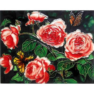 11 x 14 Ceramic English Roses Decorative Mural Tile
