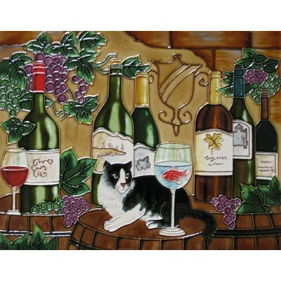 11 x 14 Ceramic Wine with a Cat Decorative Mural Tile
