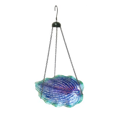 Glow in the Hanging Leaf Shaped Glass Birdbath Color: Purple 3221380B