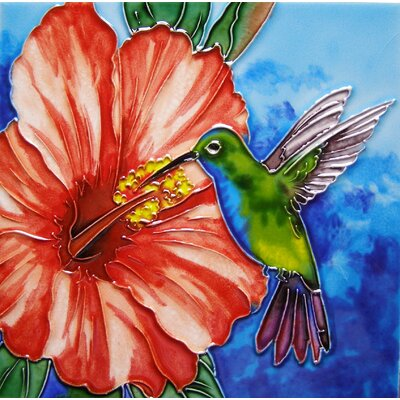 8 x 8 Ceramic Hummingbird and Hibiscus Decorative Mural Tile