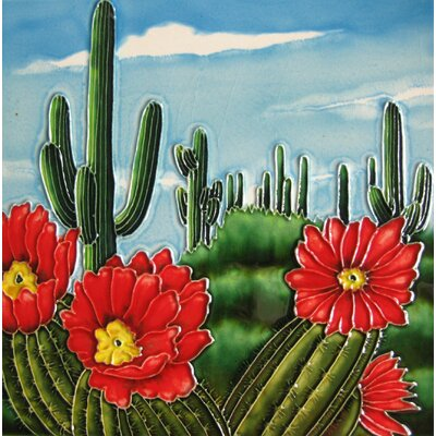 8 x 8 Ceramic Flowering Cactus and Saguaros Decorative Mural Tile
