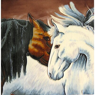 8 x 8 Ceramic Two Horses Decorative Mural Tile