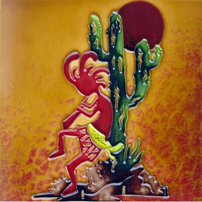 8 x 8 Ceramic Kokopelli and Saguaro Decorative Mural Tile
