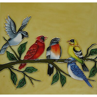8 x 8 Ceramic a Party of Birds Decorative Mural Tile in Yellow/Green