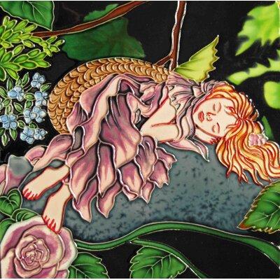 8 x 8 Ceramic Sleeping Fairy on a Rock Decorative Mural Tile