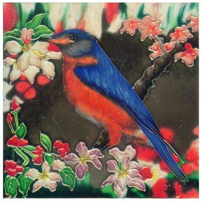 8 x 8 Ceramic Bird with Cherry Blossom Decorative Mural Tile