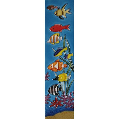 4 x 16 Ceramic Vertical Fishes Decorative Mural Tile