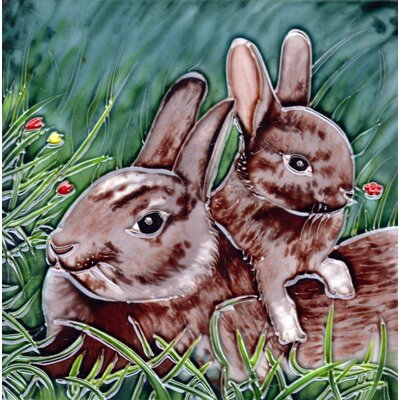8 x 8 Ceramic Mom Bunny and Her Baby Decorative Mural Tile