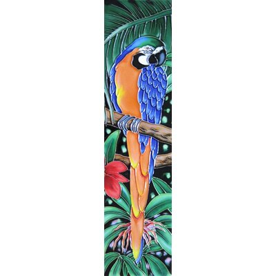 4 x 16 Ceramic Parrot Facing Right Decorative Mural Tile