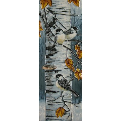 6 x 16 Ceramic Three Chickadees in the Fall Decorative Mural Tile