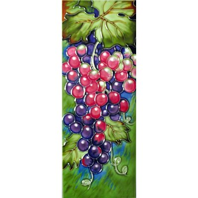 6 x 16 Ceramic Grapes (Vertical) Decorative Mural Tile in Green/Purple