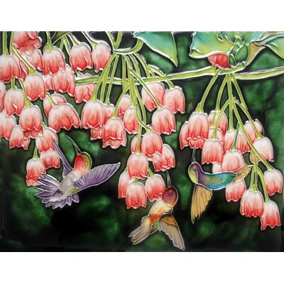 14 x 11 Ceramic Fuchsia and Hummingbirds Decorative Mural Tile in Pink/Green