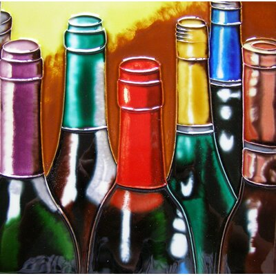 8 x 8 Ceramic 6 Wine Bottles Decorative Mural Tile