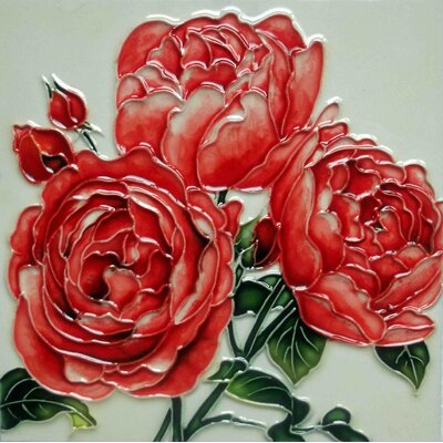 8 x 8 Ceramic English Roses Decorative Mural Tile