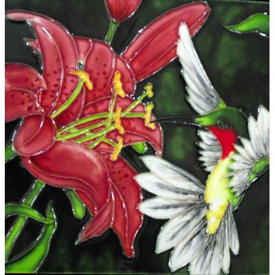 8 x 8 Ceramic Hummingbird and Lily Decorative Mural Tile
