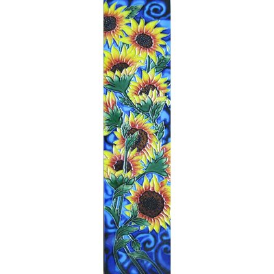 4 x 16 Ceramic Nine Sunflowers (Vertical) Decorative Mural Tile