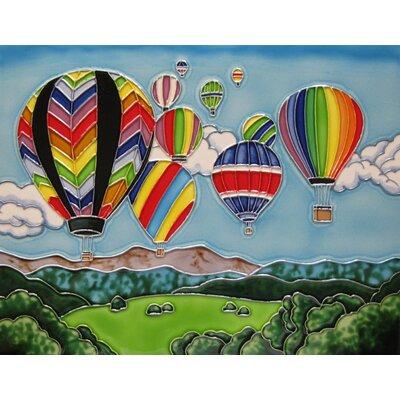 11 x 14 Ceramic Hot Air Balloons Decorative Mural Tile