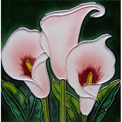 8 x 8 Ceramic 3 Callas Lilies Decorative Mural Tile