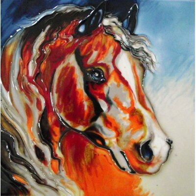 8 x 8 Ceramic Horse Closeup Decorative Mural Tile