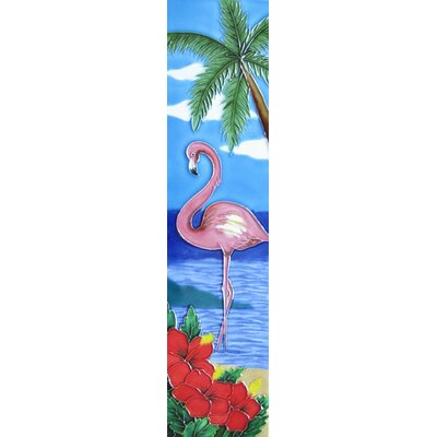 4 x 16 Ceramic Flamingo and Palm Decorative Mural Tile