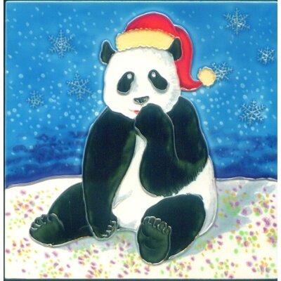 8 x 8 Ceramic Christmas Panda Decorative Mural Tile