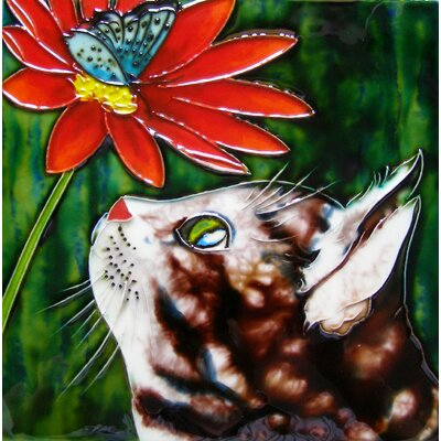 8 x 8 Ceramic Cat and Butterfly Decorative Mural Tile