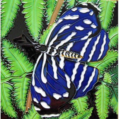 8 x 8 Ceramic Butterfly on Fern Decorative Mural Tile